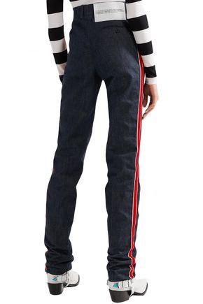 CALVIN KLEIN 205W39NYC Velvet-trimmed high-rise straight-leg jeans