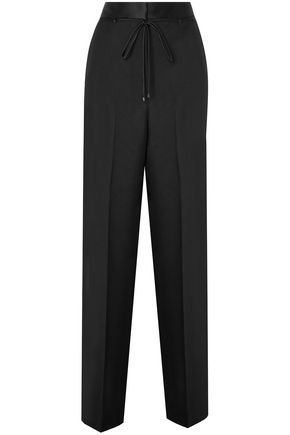 BOTTEGA VENETA Satin-trimmed wool and mohair-blend straight-leg pants
