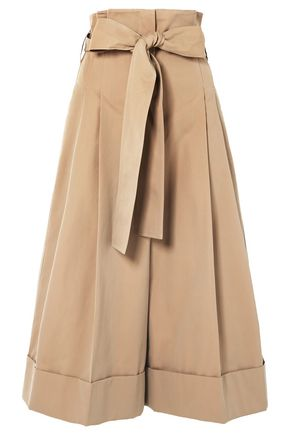 ALEXANDER MCQUEEN Belted pleated cotton-twill culottes