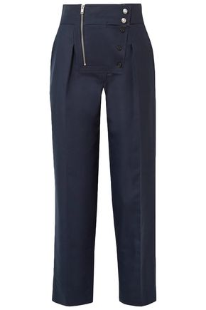 CALVIN KLEIN 205W39NYC Button-detailed cotton and silk-blend straight-leg pants