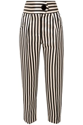 PETAR PETROV Hania cropped striped silk duchesse-satin tapered pants