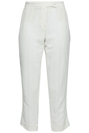 ANN DEMEULEMEESTER Ramie-blend jacquard straight-leg pants