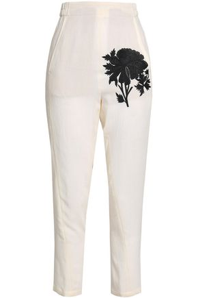 ANN DEMEULEMEESTER Embroidered crepe tapered pants