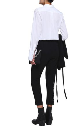 ANN DEMEULEMEESTER Cropped metallic printed wool tapered pants