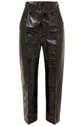PETAR PETROV Hye cropped crinkled patent-leather tapered pants