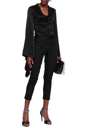 ANN DEMEULEMEESTER Distressed stretch-cotton twill leggings