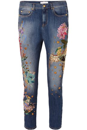 ZUHAIR MURAD Embroidered embellished low-rise slim boyfriend jeans