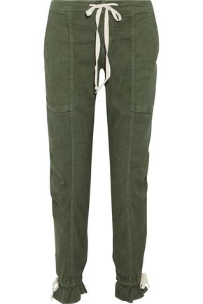 JOIE Maja cropped brushed-twill tapered pants