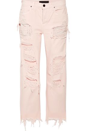 ALEXANDER WANG Cropped distressed mid-rise straight-leg jeans