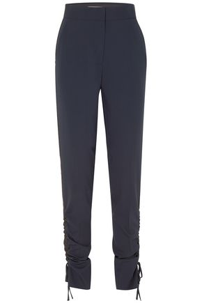 CEDRIC CHARLIER Ruched wool-blend crepe tapered pants