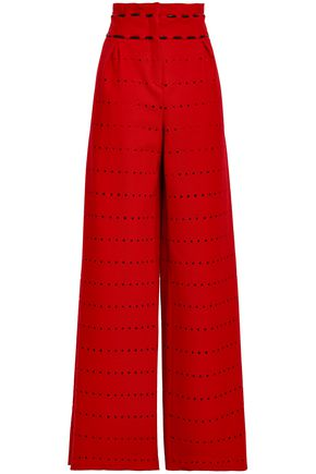 AMANDA WAKELEY Leather-trimmed perforated wool-blend wide-leg pants
