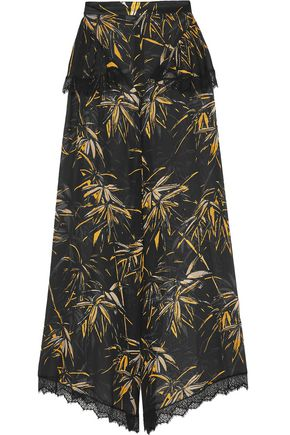 RODARTE Printed silk-blend wide-leg pants