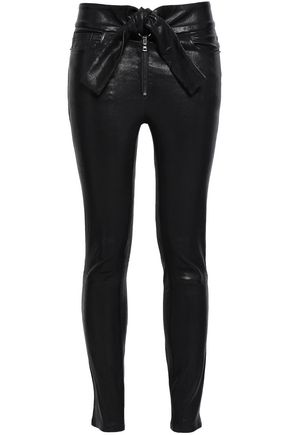 FRAME Tie-front stretch-leather skinny pants