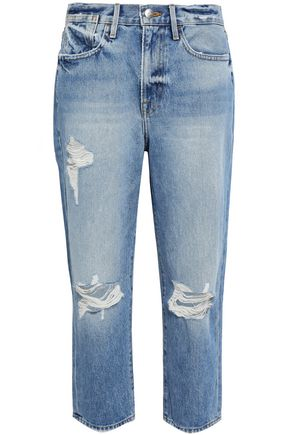 FRAME Distressed faded boyfriend jeans