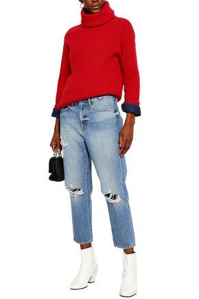 FRAME Distressed faded boyfriend jeans