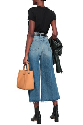 FRAME Frayed cropped high-rise wide-leg jeans