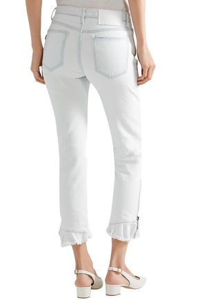 MSGM Zip-detailed mid-rise slim-fit jeans