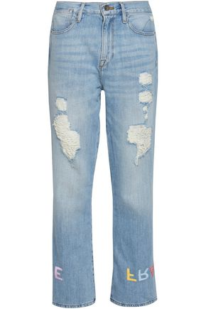 FRAME Embroidered distressed high-rise straight-leg jeans
