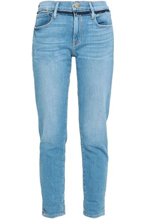 FRAME Frayed mid-rise slim-leg jeans