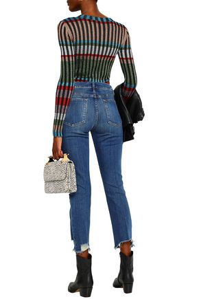 FRAME Cropped distressed high-rise straight-leg jeans
