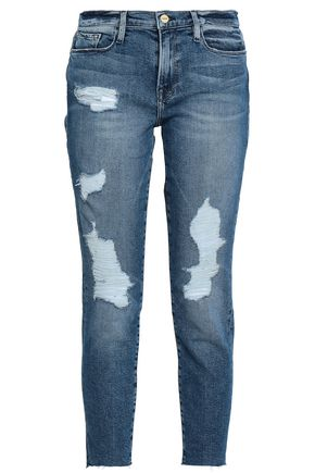 FRAME Distressed high-rise slim-leg jeans