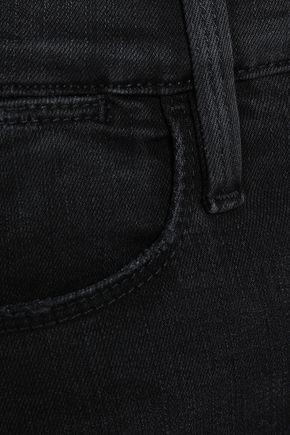 FRAME Malloy distressed high-rise slim-leg jeans