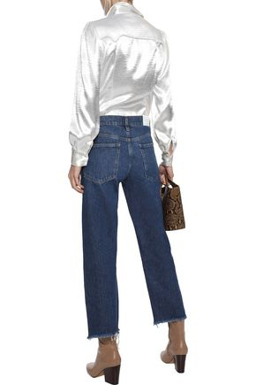M.I.H JEANS Phoebe frayed high-rise straight-leg jeans