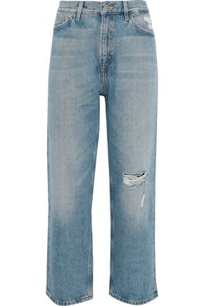 M.I.H JEANS Jeanne cropped distressed high-rise straight-leg jeans