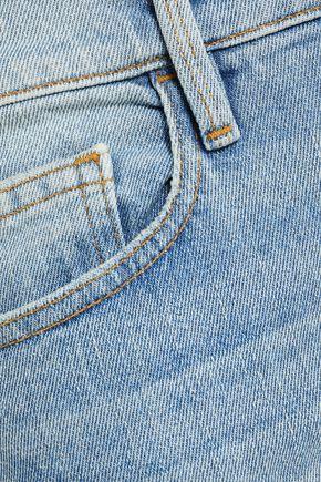 FRAME Cropped faded boyfriend jeans