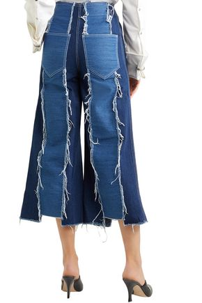 REJINA PYO Frayed two-tone paneled high-rise wide-leg jeans