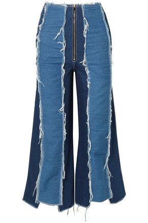 REJINA PYO Frayed two-tone paneled high-rise wide-leg jeans