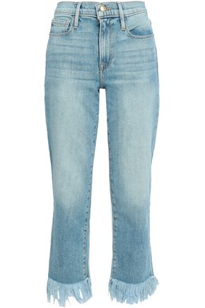 FRAME Brandsbury frayed mid-rise straight-leg jeans