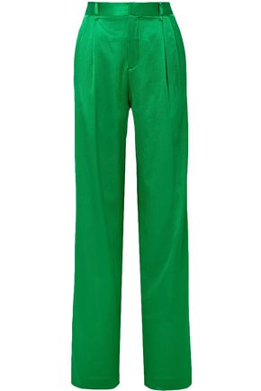 ATTICO Cotton-blend satin straight-leg pants