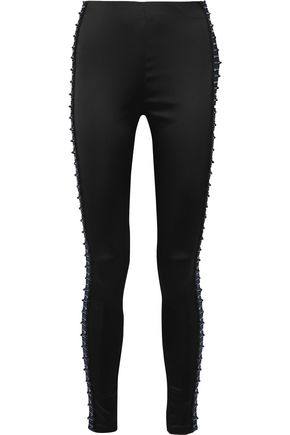 KOCHÉ Embellished satin leggings