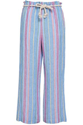 FRAME Cropped striped linen wide-leg pants