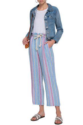 FRAME Cropped striped linen wide-leg pants