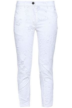 ANN DEMEULEMEESTER Cropped distressed mid-rise skinny jeans