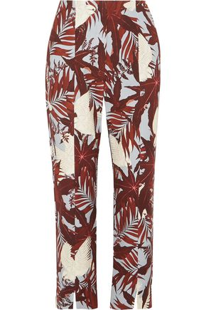 ERDEM Syrah cropped printed cotton-canvas straight-leg pants