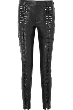 MUGLER Lace-up leather slim-leg pants