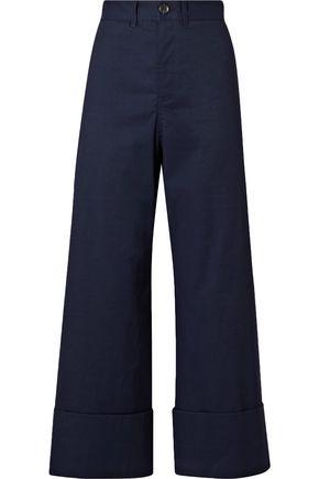 SEA Cropped stretch-poplin wide-leg pants