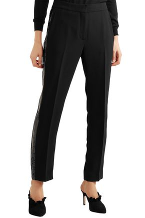 VICTORIA, VICTORIA BECKHAM Sequin-trimmed crepe tapered pants