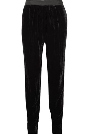 ULLA JOHNSON Monique grosgrain-trimmed velvet tapered pants
