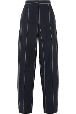 CEDRIC CHARLIER Pinstriped linen and cotton-blend wide-leg pants
