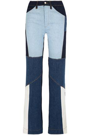 VICTORIA, VICTORIA BECKHAM Patchwork high-rise straight-leg jeans