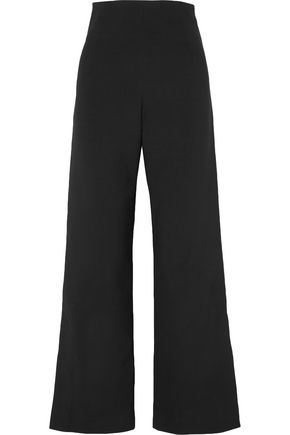 SOLACE LONDON Satin-crepe straight-leg pants