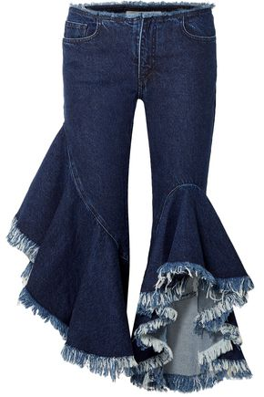 MARQUES' ALMEIDA Cropped ruffled mid-rise flared jeans