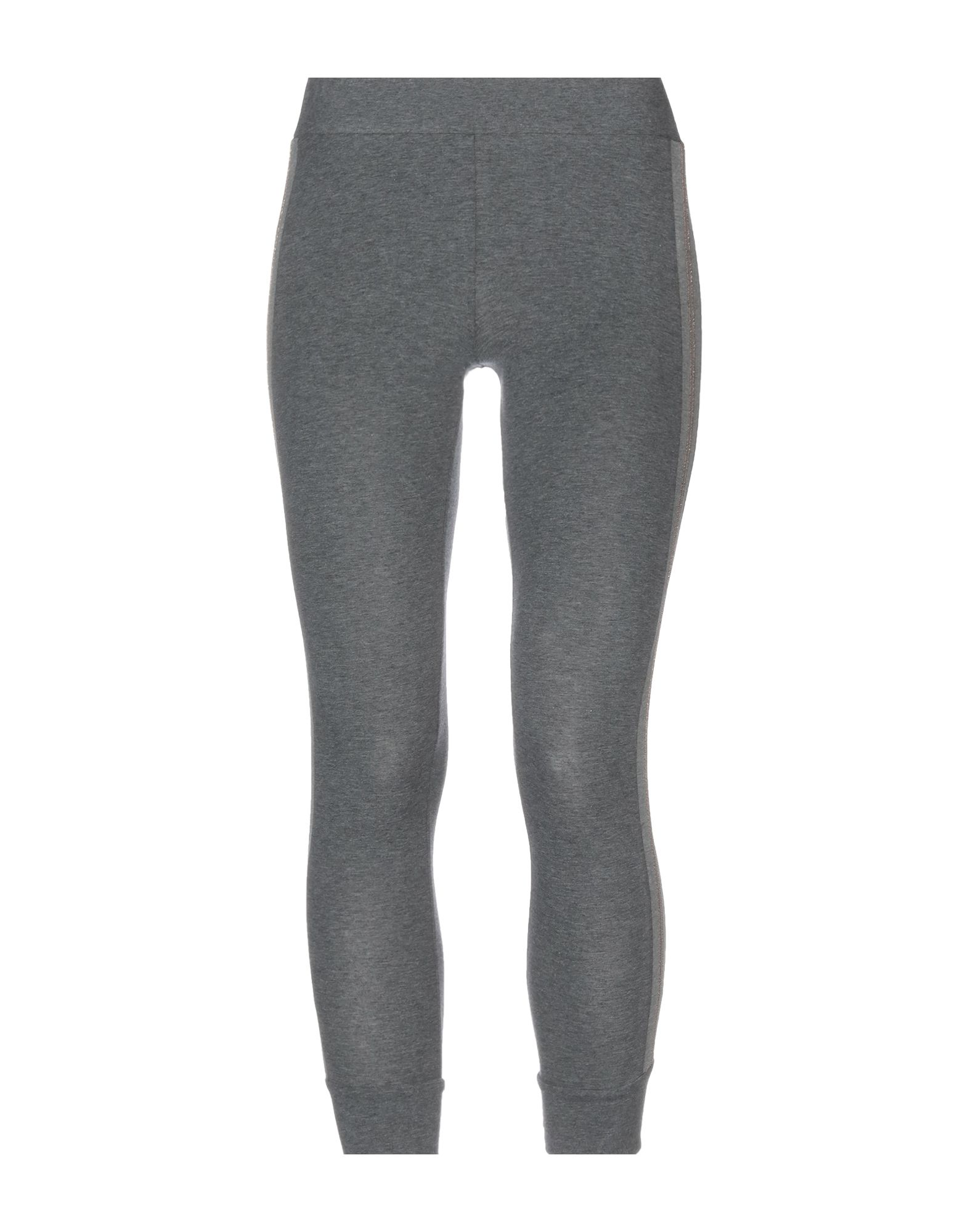 BRUNELLO CUCINELLI Leggings. jersey, metal applications, side seam stripes, solid color, mid rise, slim fit, tapered leg, elasticized waist, no pockets, stretch, pants. 93% Cotton, 7% Elastane, Ecobrass