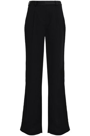BA&SH Satin-trimmed crepe wide-leg pants