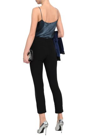 BA&SH Cropped satin-trimmed crepe tapered pants