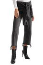 ALEXANDER WANG Tie-front frayed high-rise straight-leg jeans